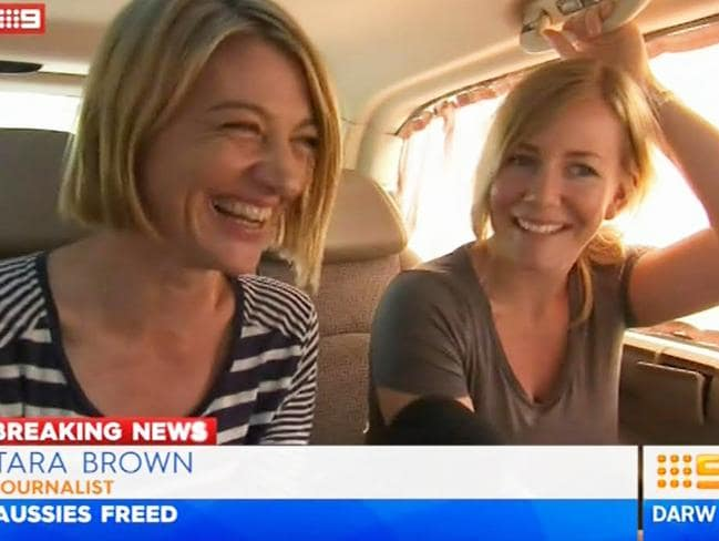 Freedom ... Tara Brown and Sally Faulkner after being released. Picture: Channel 9