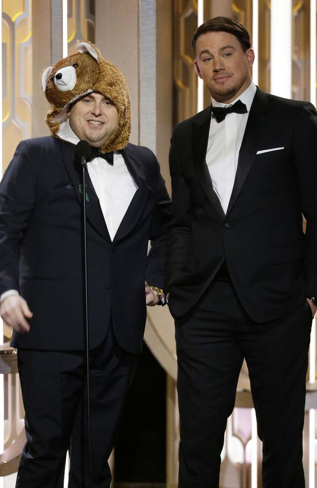 Presenters Jonah Hill and Channing Tatum onstage during the 73rd Annual Golden Globe Awards at The Beverly Hilton Hotel on January 10, 2016 in Beverly Hills, California. (Photo by Paul Drinkwater/NBCUniversal via Getty Images)