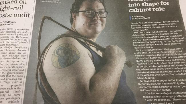 Today's  <i>Sydney Morning Herald</i> lovingly devoted the cover to Christensen.