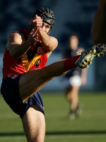 Caleb Daniel launches into a kick for SA. Picture: Colleen Petch.