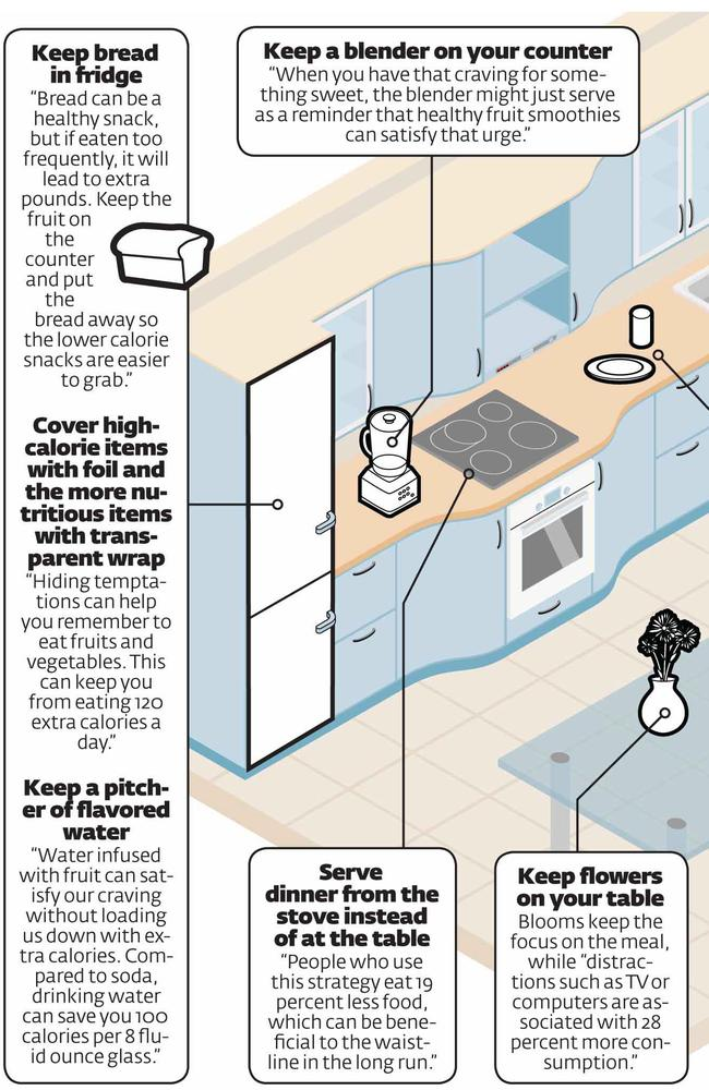 New research from the Food and Brand Lab at Cornell University has found that many triggers for mindless, unhealthy eating involve how your kitchen is organised and decorated. Picture: supplied.