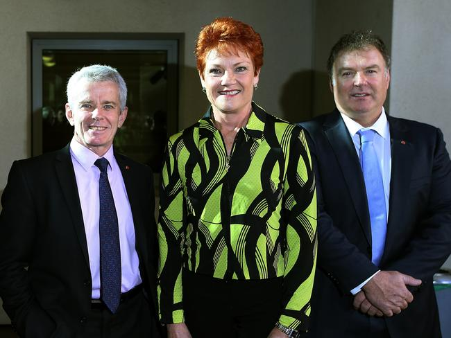 One Nation MPs Malcolm Roberts, Pauline Hanson and Rod Culleton. Picture: Kym Smith