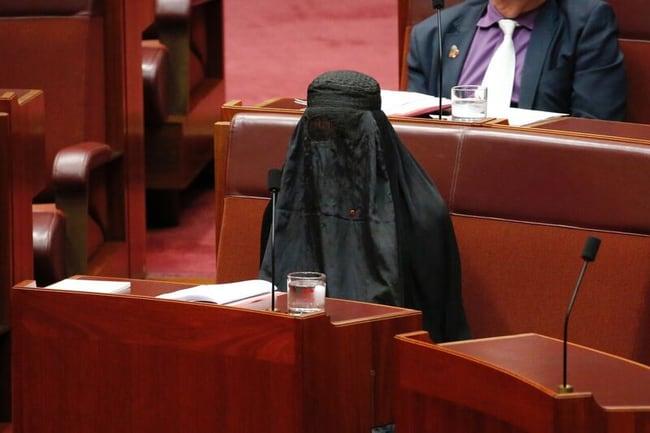 Pauline Hanson wears a burqa in the Senate