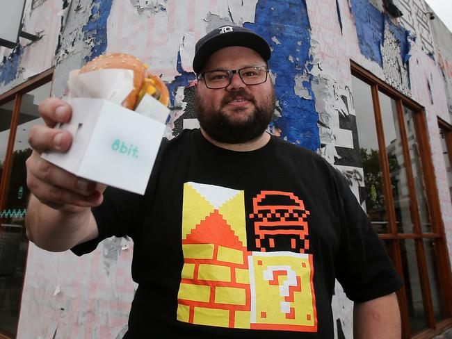 8-Bit burger owner Shayne McCallum says he is far from a hipster. Picture Yuri Kouzmin
