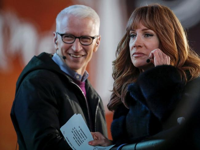 Kathy Griffin and Anderson Cooper during their New Year's Eve CNN gig in 2015. Griffin has since been dumped from the telecast. Picture: Splash News