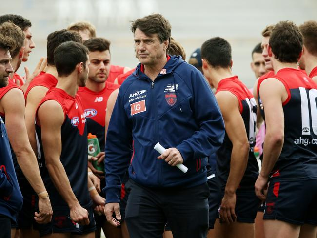 Paul Roos in his last season as Melbourne coach. Picture: Colleen Petch.