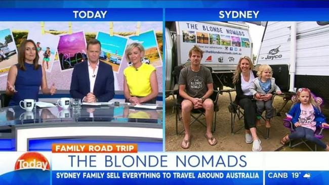 The Blonde Nomads have done media appearances, giving nods to their sponsors, such as Jayco.