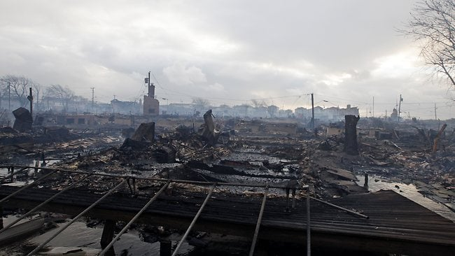 Damage caused by a fire at Breezy Point in the New York City borough of Queens. Picture: Frank Franklin II