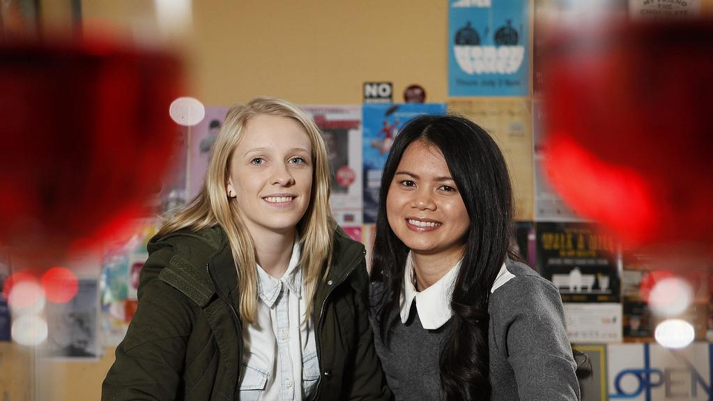 The AHA has come out and said that drinking in pubs/hotels is safer than drinking at home. [L-R] Emily Rich & Lan Nguyen enjoy some drinks in the Exter's beer garden, Rundle St. pic by Bianca De Marchi - 1.7.15