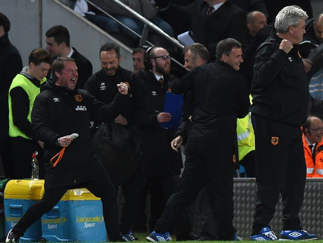 Hull City English manager Steve Bruce is jubilant after a recent win over Liverpool.