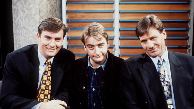 Aust TV presenter Eddie McGuire with Trevor Marmalade and Sam Newman in TV program  <i>The Footy Show</i>
