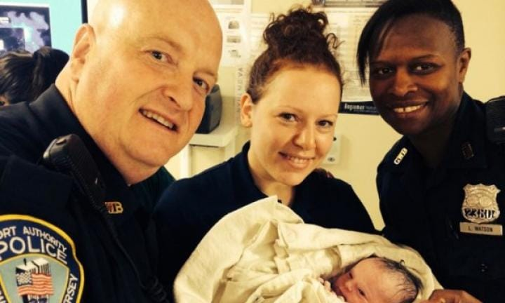 Cops deliver a baby on a bridge then save a man's life