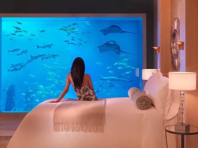 "The three-storey signature underwater suites at Atlantis, The Palm hotel, provide a fish-eye view into the aquarium. The five-star hotel is located on a man-made island at Dubai. Picture: Paul Thuysbaert /  <a href=""http://www.atlantisthepalm.com/rooms.aspx"" target=""_blank"">Atlantis, The Palm</a>"