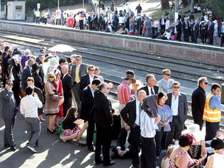 Oaks Day. Flemington. Trains. Major train delays leave angry commuters stranded at Flemington railway station.