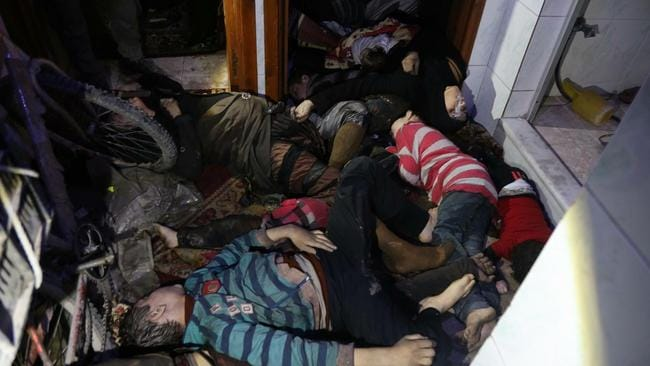 Bodies inside a room following an alleged chemical attack on the rebel-held town of Douma. Picture: AFP