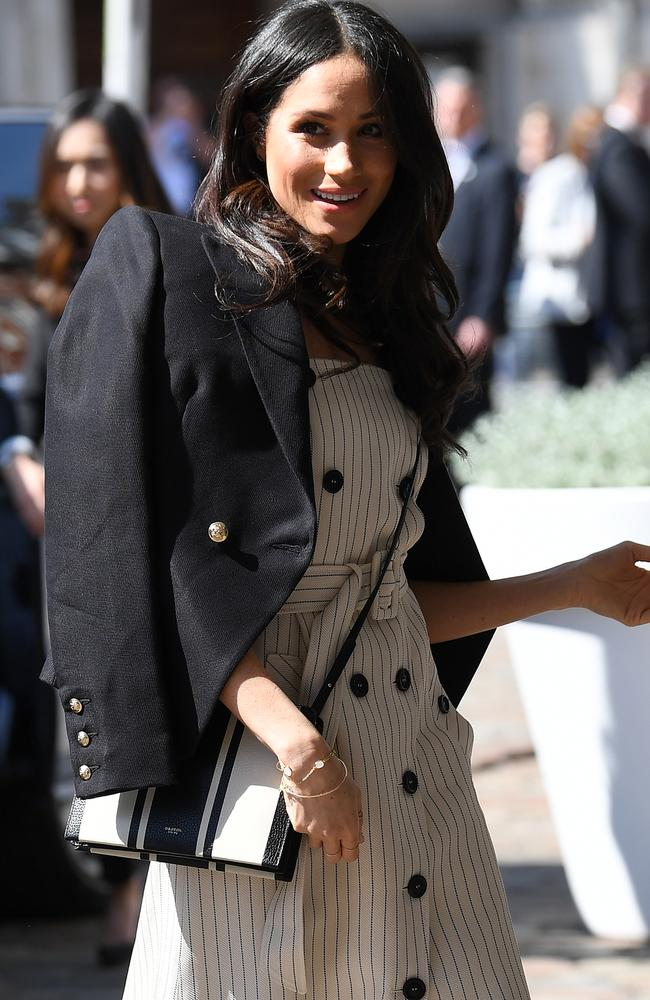 Meghan donned Australian designers Camilla & Marc and Oroton for her jacket and shoes. Picture: MEGA