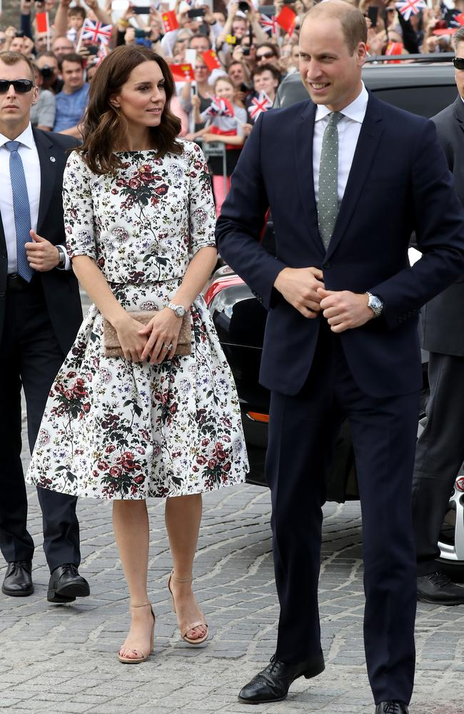 The Duchess's floral white-and-green Erdem dress picked up on Wills' dusty olive tie in Gdansk, Poland. Picture: Getty Images