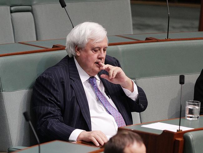 Leader of the Palmer United Party Clive Palmer during Question Time at Parliament House on July 15, 2014 in Canberra, Australia.