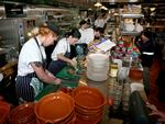 2/9/14 - Jamie Oliver's restaurant opens in King William Street, Adelaide, Jamie's Italian - the busy kitchen - pic Mike BURTON