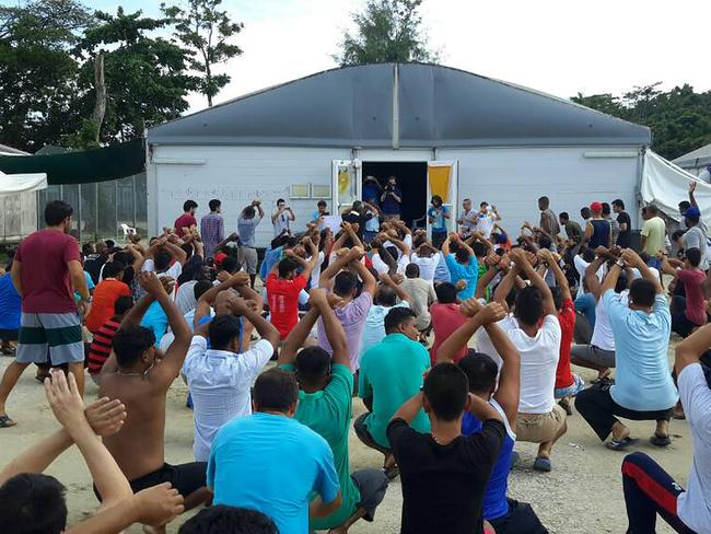 Asylum seekers are refusing to leave the Manus Island Detention Centre. Picture: AAP/Supplied by Srirangan