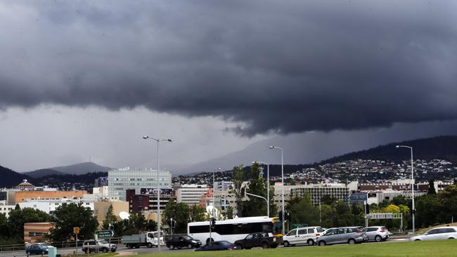 Rain clouds are set to gather over Hobart in the next few days. Picture: KIM EISZELE