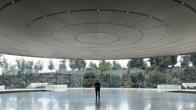 The foyer of the Steve Jobs Theatre in the company's new campus in Cupertino, California.