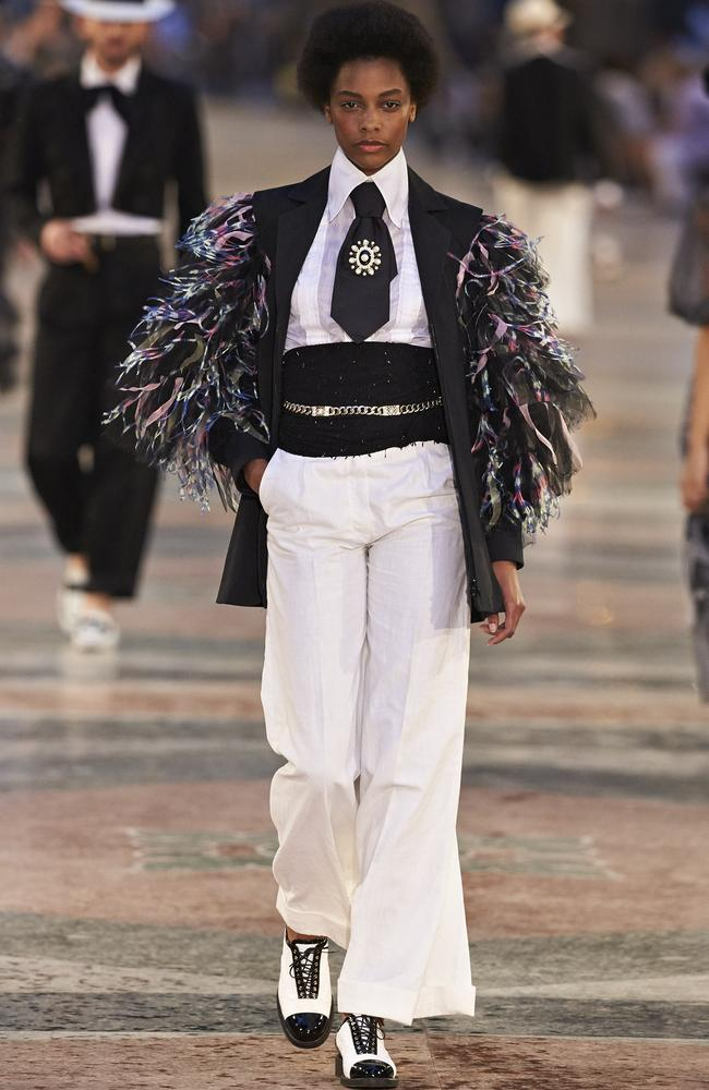How good is this? Feathers meet tux at the Chanel cruise collection shown in Cuba. Picture: Chanel