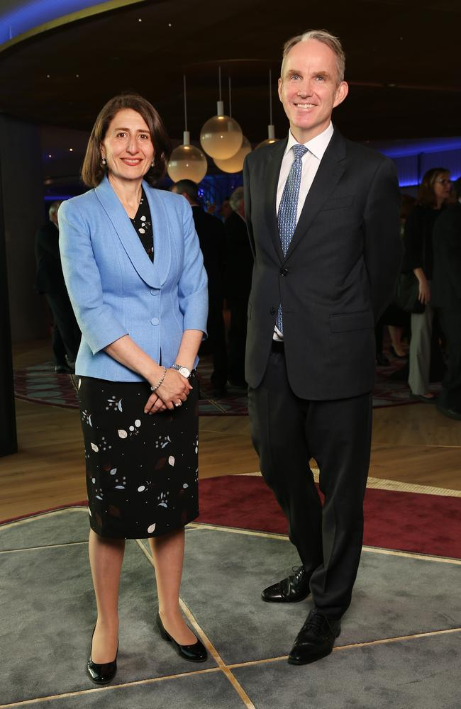 NSW Premier Gladys Berejiklian and Daily Telegraph Editor Christopher Dore at the 2017 Bradfield Oration. Picture: Richard Dobson