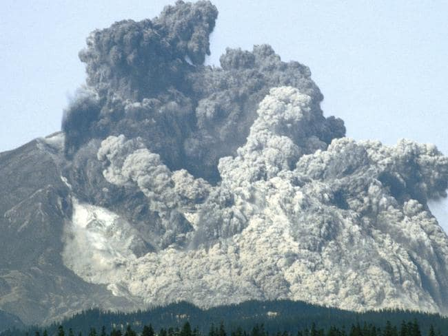 The explosion that shook the world. Picture: Courtesy Mount St Helens Science and Learning