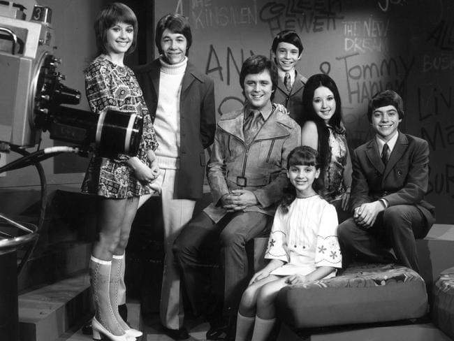 Young Talent Time cast members in 1971: (L to R) Debra Byrne, Rod Kirkham, Johnny Young, Jamie Redfern, Jane Scali, Vikki Broughton and Philip Gould.