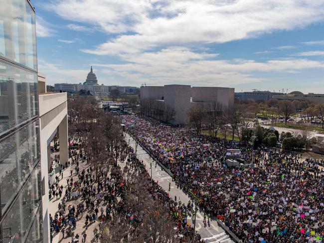 The huge crowd on Pennsylvania Avenue in front of Capitol Hill. Picture: AFP Photo/Alex Edelman