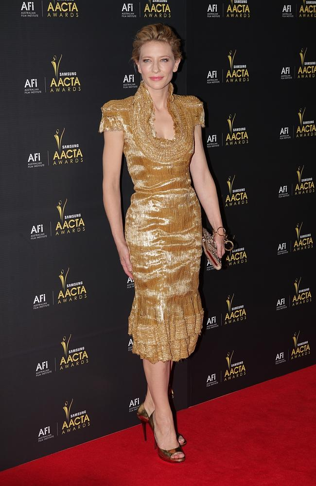 Cate Blanchett on the red carpet for the inaugural AACTA Awards at the Sydney Opera House. Source: News Limited