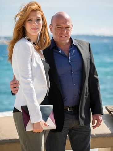 Dean Norris and Under the Dome co-star Rachelle Lefevre strike a pose in Cannes. Picture: Getty