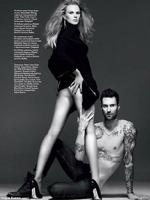No right side: Adam Levine looks like he is missing a fair portion of his torso in an image in Vogue Russia magazine. The Maroon 5 star was photographed with girlfriend, model Anne Vyalitsyna.