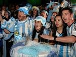 Argentinian supporters still in fine voice at La Boca restaurant. From left: Pippo Belmonte, Sonia Bogoslavsky, Cherie Luk and Javier Barbalace. Picture: Noelle Bobrige