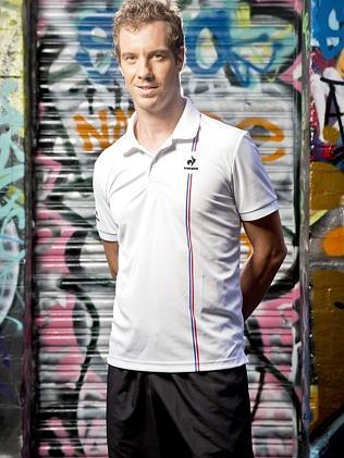 France's Richard Gasquet says he is proud to be wearing Le Coq Sportif apparel at the Australian Open. Picture: Nathan Dyer