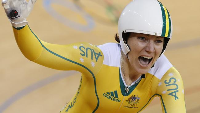 Meares wins the women's sprint final at the London Olympics.