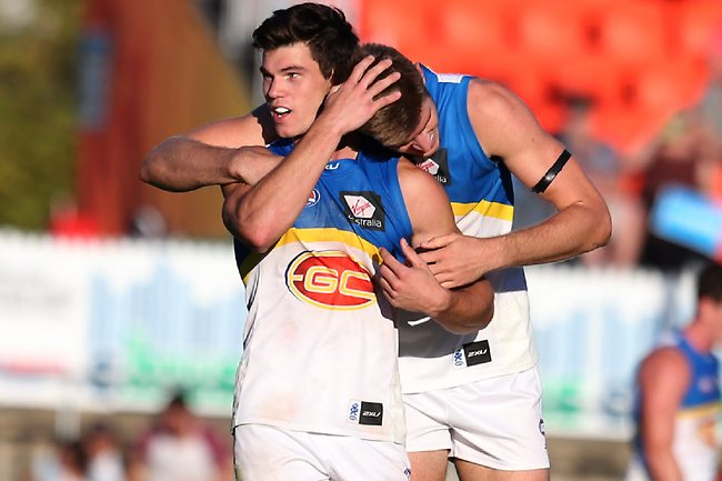 AFL - GWS vs Gold Coast Suns at Manuka Oval in Canberra. Gold Coast Suns Jaeger O'Meara and Zac Smith. Picture: Kym Smith