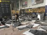 Inside the terminal: this image shows the power of the blasts. Picture: Twitter