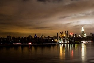 """A view of the Big Apple from Brooklyn after Sandy as caputred by photographer Michael Cinquino: """"New York City. View from Brooklyn: 10.30.1"""" he tweeted."""""""