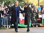 Prince Harry and his fiancee Meghan Markle arrive for their visit to Cardiff Castle on January 18, 2018 in Cardiff, Wales. Picture: Getty