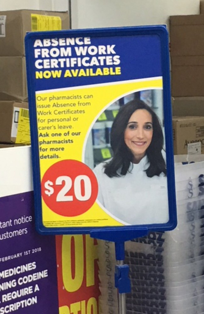 Chemist Warehouse store offering sick notes for a fee.