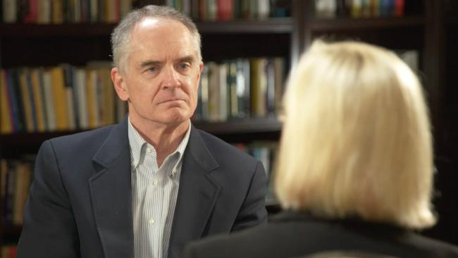 Jared Taylor from American Renaissance, a white nationalist organisation, stares down Liz Hayes. Picture: Channel 9