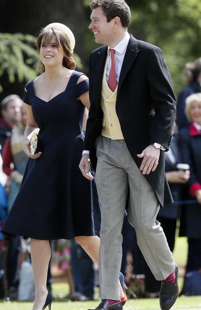 Princess Eugenie and Jack Brooksbank arrive for the wedding of Pippa Middleton and James Matthews at St Mark's Church in Englefield Saturday, May 20, 2017. Picture: Kirsty Wigglesworth