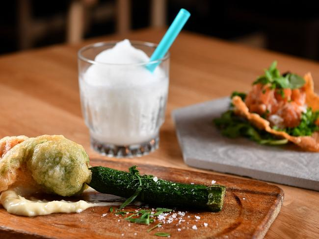 The Tempura Zucchini Flower and Salmon Taco dish at Spanish Sakaba. Picture: AAP/Joel Carrett