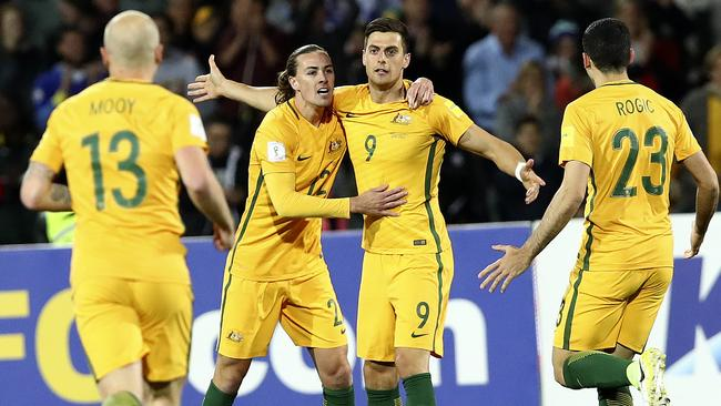 Tomi Juric celebrates a goal against Saudi Arabia in the Socceroos' World Cup qualifier win at Adelaide Oval. Picture: Sarah Reed