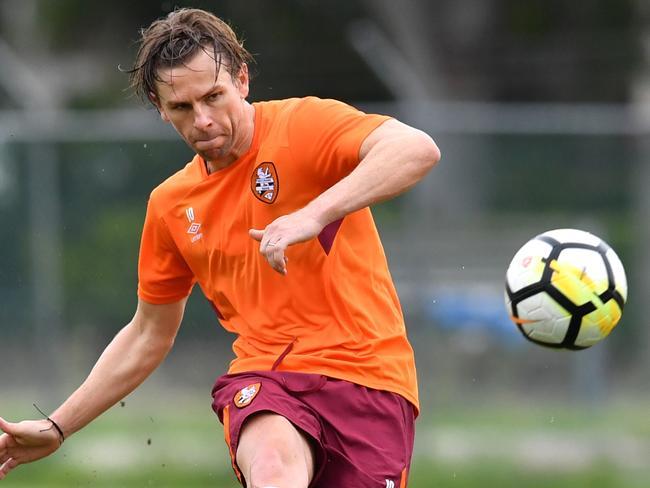 Brisbane Roar's Brett Holman training ahead of his side's A-League clash with Adelaide United.