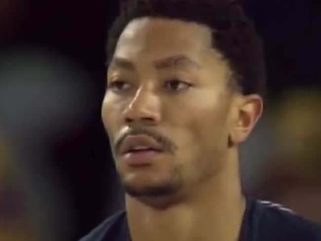 Former NBA MVP Derrick Rose appeared dazed.