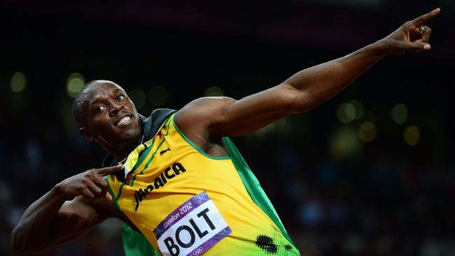 Usain Bolt celebrates after winning the 100m final at the London Olympic Games.