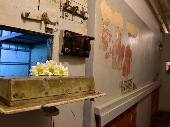 Flowers lie on a flap of a cell in the basement.